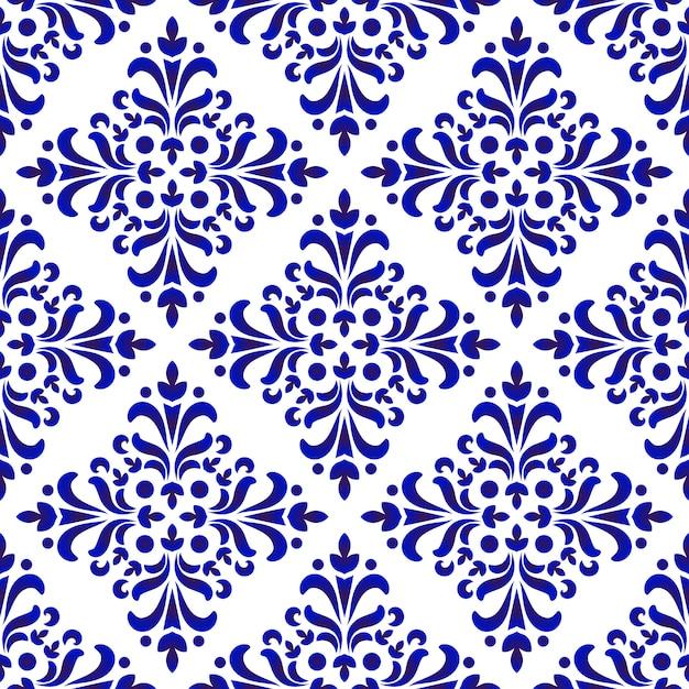 Decorative floral damask pattern Premium Vector