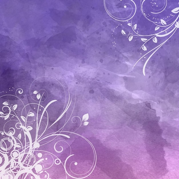 decorative floral design on a watercolour background vector free