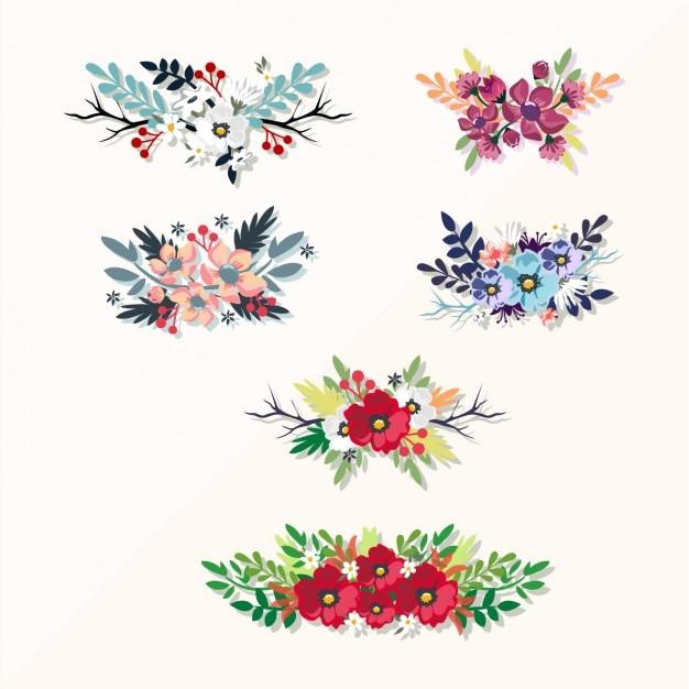 تزئینی مجموعه عناصر گل