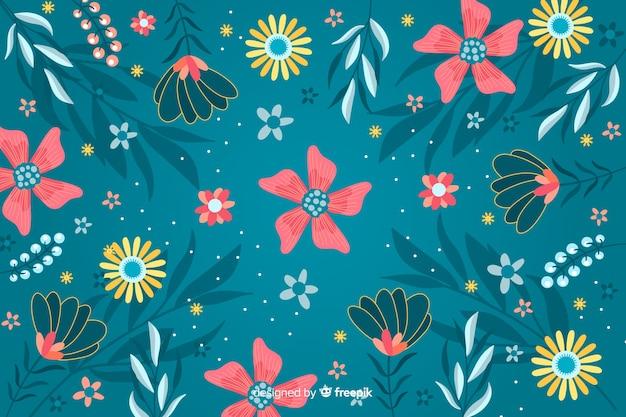Decorative floral flat design background Free Vector