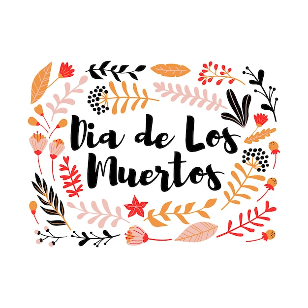 Decorative Floral Frame With Inscription Dia De Los Muertos Vector