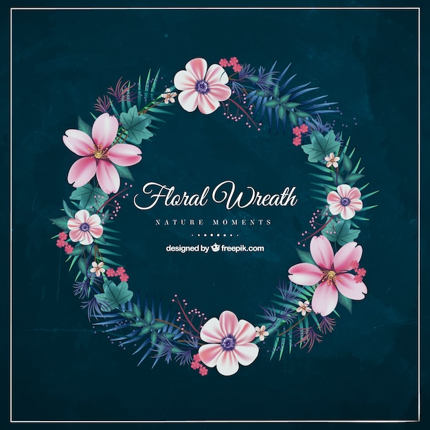 Decorative floral wreath with flowers in pink\ tones