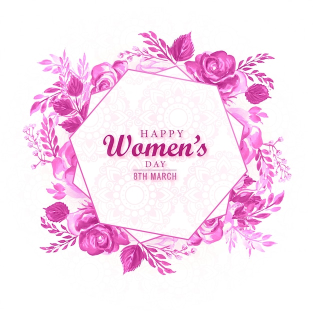 Decorative flower frame with womens day card Free Vector