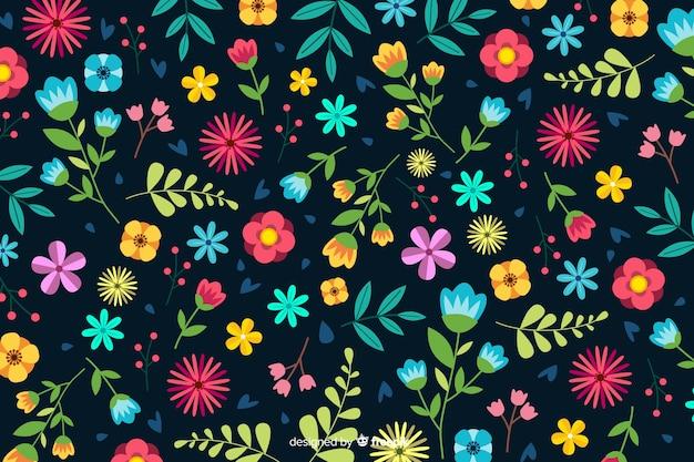 Decorative flowers background flat design Free Vector