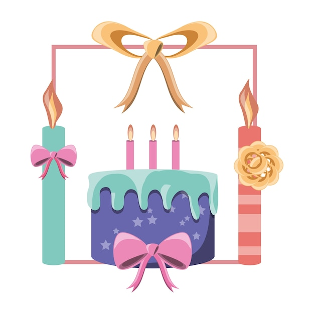 Decorative frame of candles and ribbon with birthday cake icon over ...