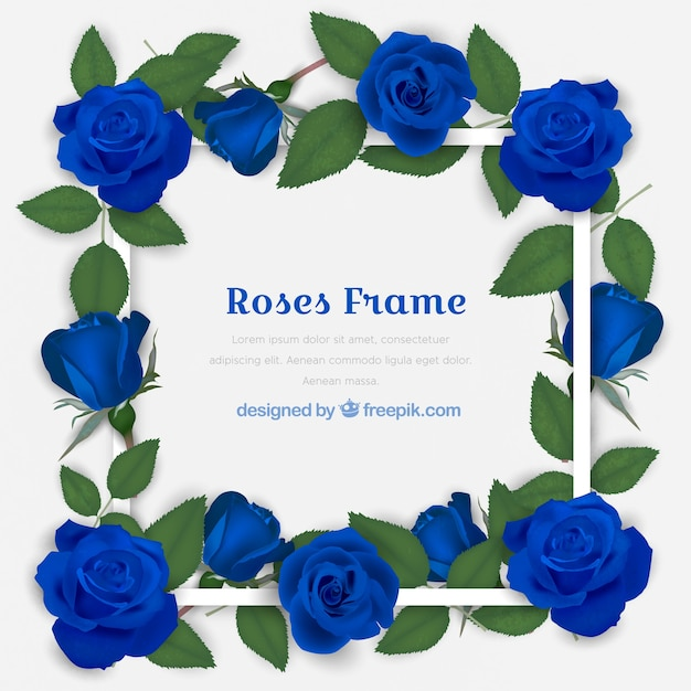 Decorative Frame With Blue Roses Vector Free Download