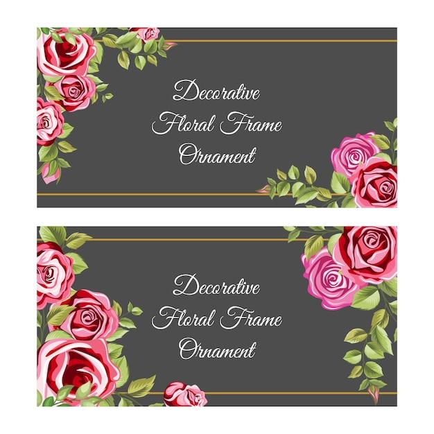 花と葉の飾りで装飾的なフレーム Premiumベクター