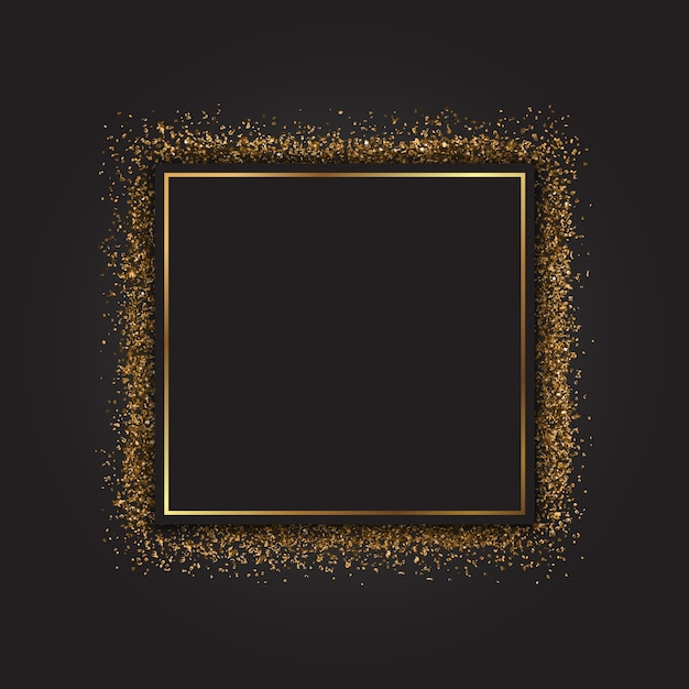 Decorative frame with a gold glitter effect Free Vector