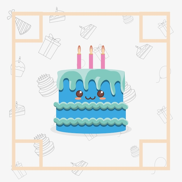 Decorative frame with Kawaii birthday cake with candles icon over ...