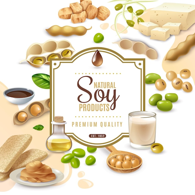 Decorative frame with soy food products on white beige Free Vector
