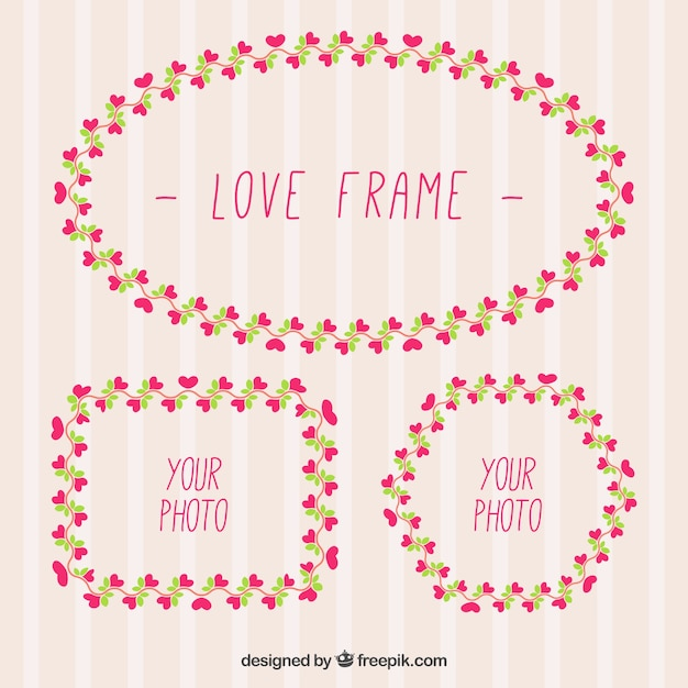 Decorative frames with little hearts Free Vector
