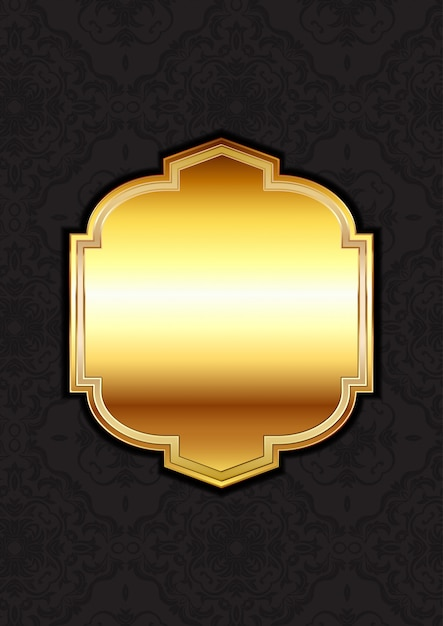 Decorative gold frame on a damask background Free Vector