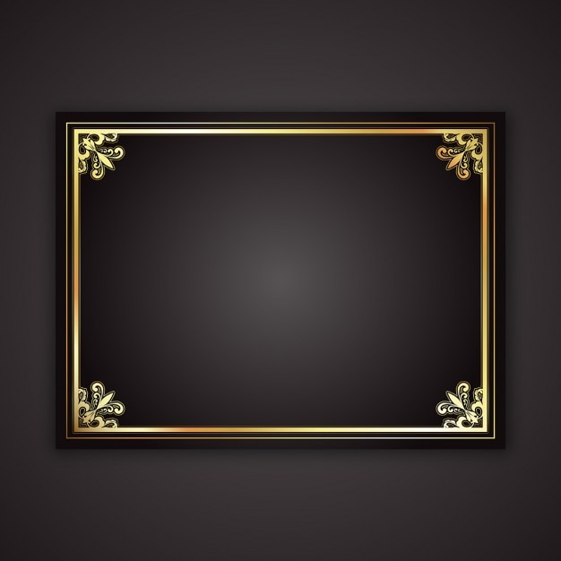 Decorative gold frame on a black gradient background Free Vector