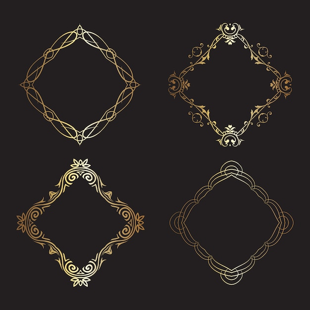 Decorative gold frames collection Free Vector