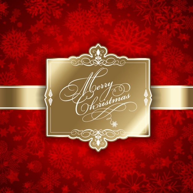 Weihnachtsbilder Download.Decorative Golden Christmas Tag On A Red Background Vector Free