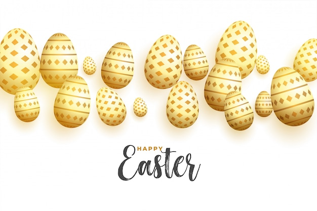 Decorative golden eggs happy easter day background Free Vector