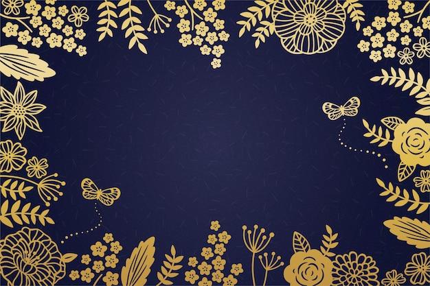 暗い青色の背景に装飾的な黄金の花のフレーム Premiumベクター