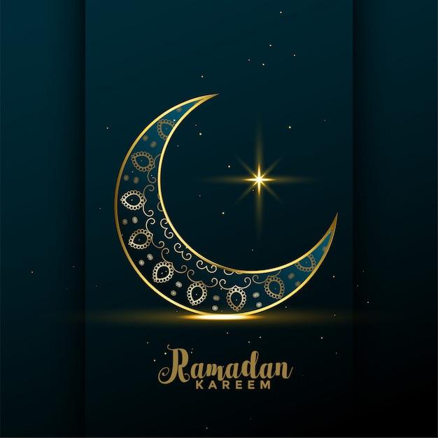 Decorative golden moon ramadan kareem background Free Vector