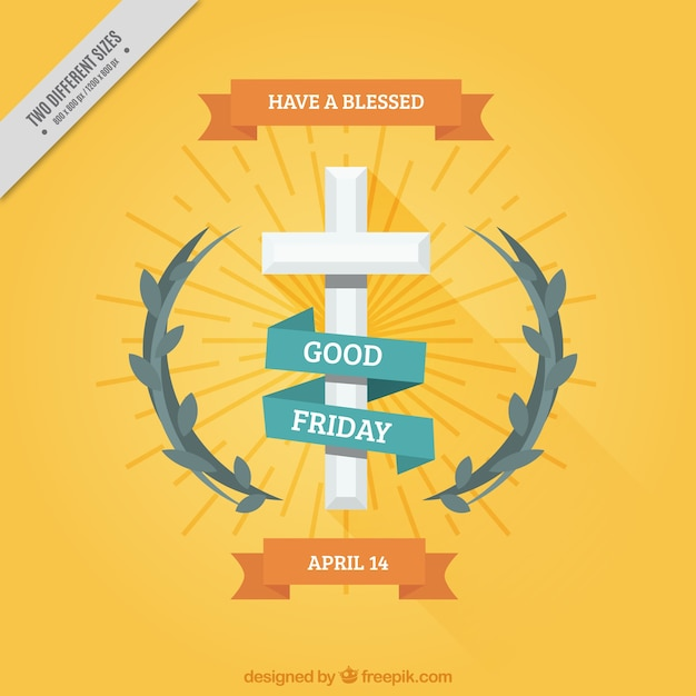 Decorative good friday background with cross and floral detail Free Vector
