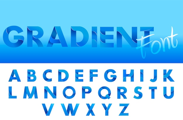 Decorative gradient blue alphabet font. letters for logo and design typography. Free Vector
