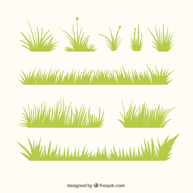 Decorative grass borders with different designs Free Vector