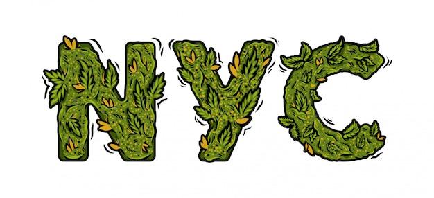 Decorative green marijuana font with inscription