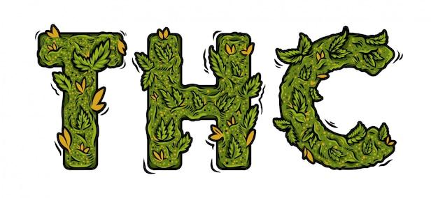大麻麻の芽から作られた「thc」の碑文が付いた装飾的な緑のマリファナフォント。 Premiumベクター