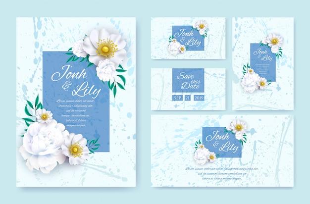 Decorative greeting card wedding invitation design Premium Vector