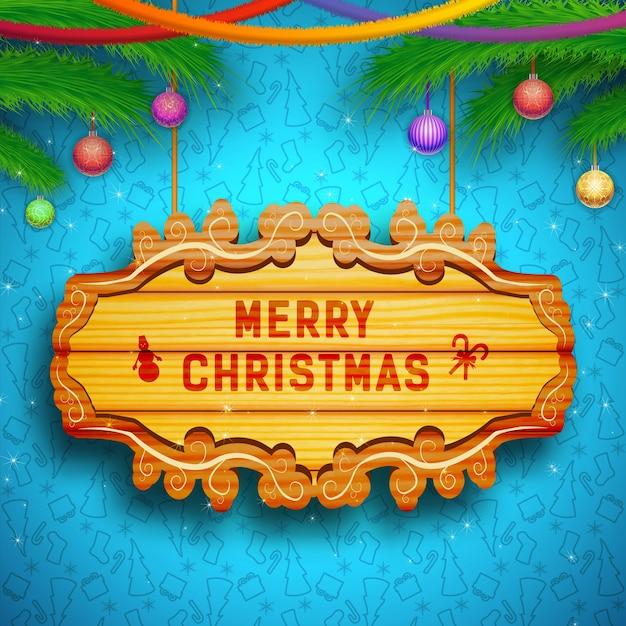 木の板のモミの枝のリボンが付いている装飾的なグリーティングカード青のクリスマスボール Premiumベクター