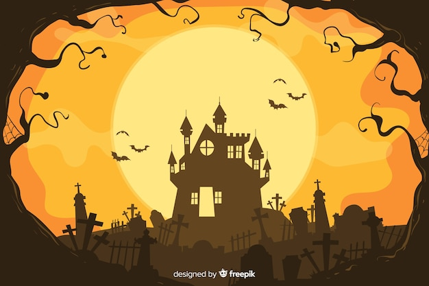 Decorative halloween background hand drawn style Free Vector