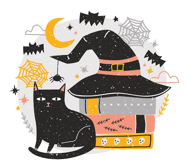 Decorative halloween composition with cute black cat sitting beside stack of antique books covered by witch hat Premium Vector