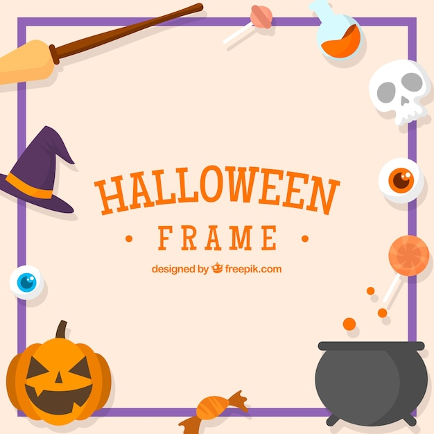 Decorative halloween frame with elements in flat design Free Vector