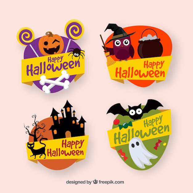 Decorative halloween labels collection Free Vector