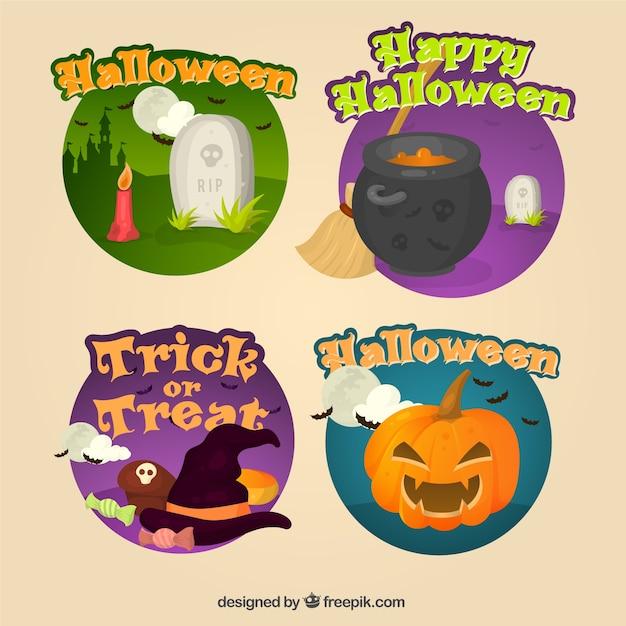 Decorative halloween stickers Free Vector