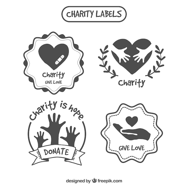 Decorative hand drawn charity labels Free Vector