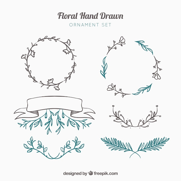 Decorative hand drawn elements Free Vector