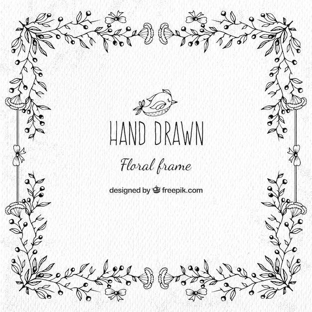 Black Flower Decorative Frame Vectors Material 04 Free: Decorative Hand Drawn Floral Frame Vector