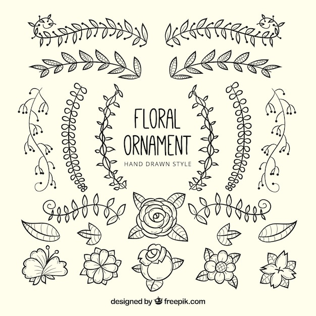 Decorative hand drawn flowers and leaves