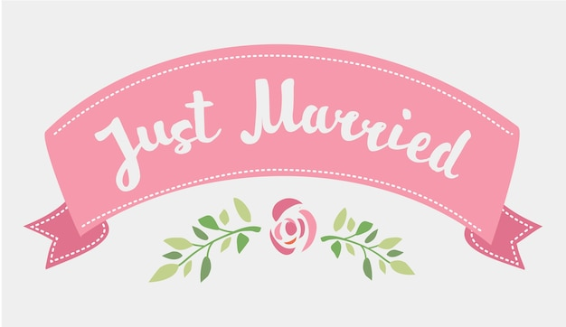 Decorative hand drawn lettering of text just married and pink ribbon isolated on white background Premium Vector