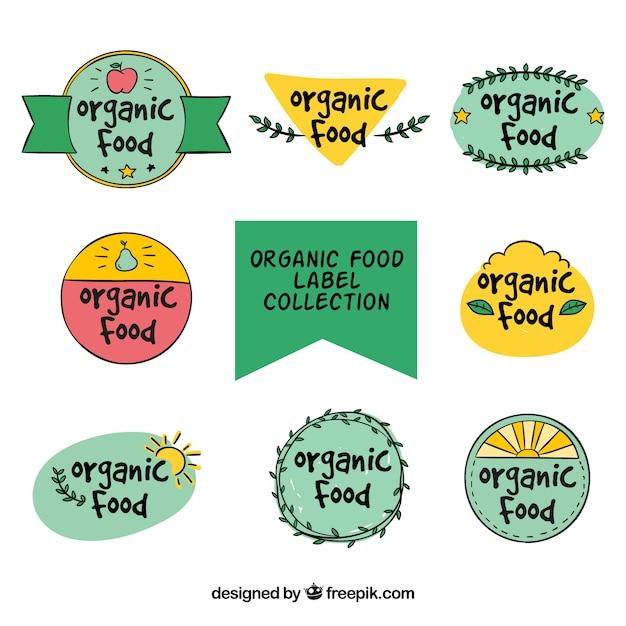 Decorative hand-drawn organic food\ stickers
