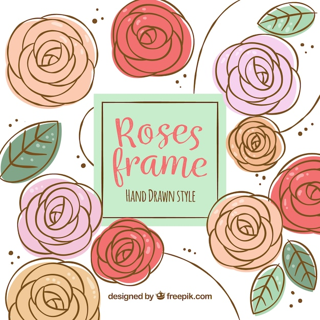 Decorative hand drawn roses background Vector | Free Download