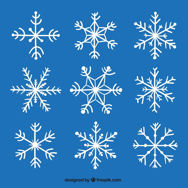 Decorative hand drawn snowflakes pack vector free download