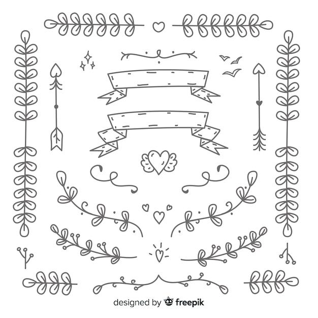 Koleksi ornament pernikahan digambar tangan dekoratif Vektor Gratis
