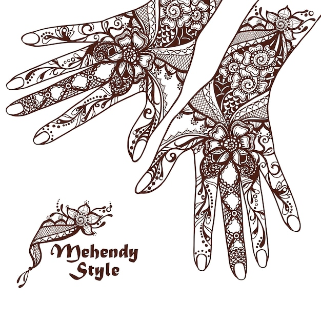 Decorative hands with henna tattoos Free Vector