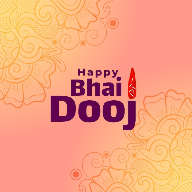 Decorative happy bhai dooj indian festival greeting card Free Vector