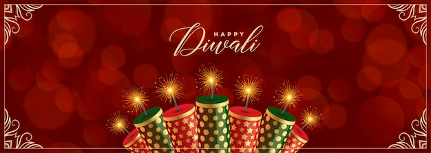 Decorative happy diwali crackers red banner Free Vector