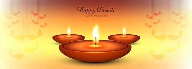 Decorative happy diwali diya banner template Free Vector