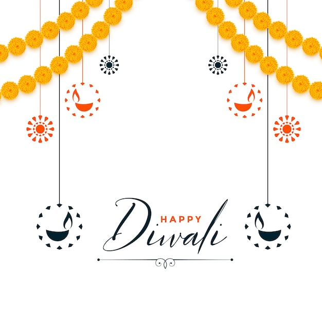 Decorative happy diwali festival white background Free Vector