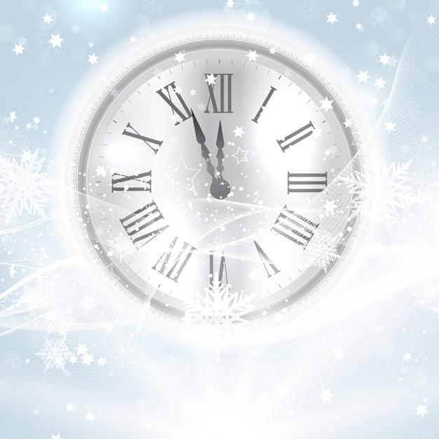 Decorative happy new year background with clock nestled in snow ...