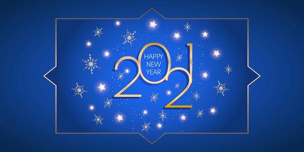 Banner decorativo di felice anno nuovo con stelle d'oro e design di fiocchi di neve Vettore gratuito